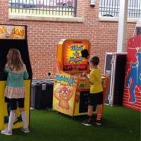 Boy Playing Whac A Mole Arcade Game at Fall Festival